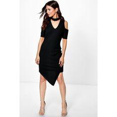 Boohoo Jessa Choker Asymmetric Rib Bodycon Dress (635 CZK) ❤ liked on Polyvore featuring dresses, black, ribbed dress, day to night dresses, special occasion dresses, ribbed bodycon dress and holiday dresses