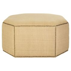 The Upholstered Ottoman, Large - Bleached Straw