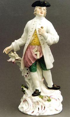 """Meissen Porcelain, titled  """"Carpenter"""" by Johann Joachim Kandler.  Circa 1840.    This beautiful Meissen porcelain is from Saxe (Germany).  It is titled """"Carpenter"""" by Johann Joachim Kandler.  Circa 1840.  He is sure to be a Fellowcraft Mason by the way he is wearing his apron and the working tools he is in possession of.  It is marked bibliography: Dr. Berling, Meissen Porcelain."""