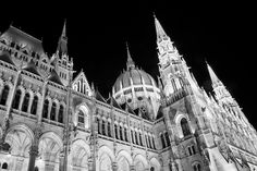 Hungarian Parliament building in black and white Budapest, Black And White Photography, Hungary, Barcelona Cathedral, Places Ive Been, Louvre, Building, Travel, Black White Photography