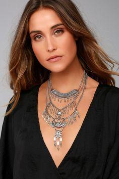 #BFCM #CyberMonday #Lulus - #Lulus Lulus - Gypsy Dreams Silver Layered Statement Necklace - AdoreWe.com