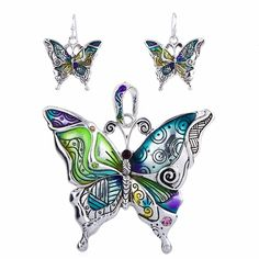 LIMITED OFFER AND FREE SHIPPING A Butterfly necklace together with matching earrings that you can carry everywhere you go, while at the same time you display your support and love for this unique anim