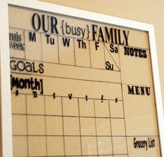 dry erase calendar using picture frame
