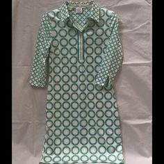 Gretchen Scott Shirt Dress Gretchen Scott Shirt Dress, NWT, Color-Aqua/Green/White, various sizes.  Great for the office. Gretchen Scott Dresses