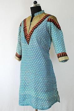 Printed Cotton Long Kurti with V-Shape Yoke