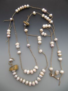 Lucia Anyonelly fresh water pearls and antique French  brass