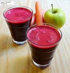 Receta de un saludable jugo de betabel, manzana y zanahorias. Con fotos del paso a paso y consejos de degustación