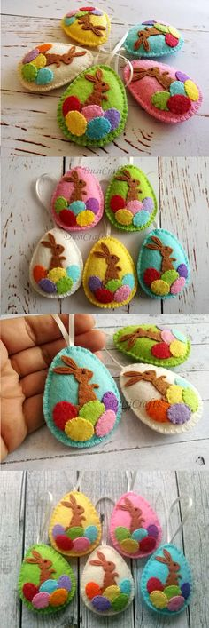 Easter bunny eggs, Felt Easter decoration - felt egg with bunny, Easter decor, felt Easter decor, felt Easter eggs - 1 ornament