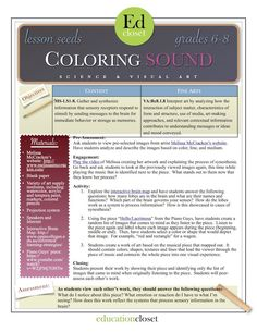 Integrating science and visual art through this synesthesia lesson called coloring sound. Students investigate how the brain processes information. Sound Science, Arts Integration, Content Area, Art Curriculum, Teaching Music, Art Lessons, Student, How To Plan, Education
