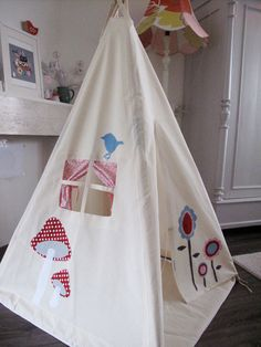 tipi tent  lollipop flowers in red blue and white by moozlehome, $285.00