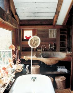 Blunk's house in Inverness, Calif. was made with found materials; he carved the bathroom sink out of redwood. From T Magazine. Modern Home Furniture, House Interior, Home Improvement Projects, Bathroom Red, Home, Interior, Carved Sink, Beautiful Houses Interior, Modern House