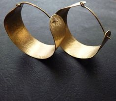 Gold brass Hoop Earrings Hammered large by Jazjewelz on Etsy #hand hammered earrings