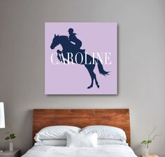 Custom Equestrian Canvas for Girls - Horse Themed Gift for Teens - Navy Blue and Lavender