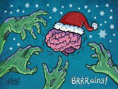 Zombie Santa Brain Vector Illustration - Brad Albright