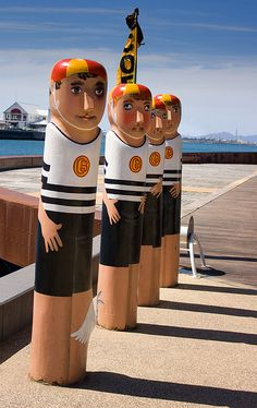 Geelong, Victoria Bollards Over 100 sculptured bollards are installed around the Geelong waterfront. The bollards chronicle characters from the city's past and present . Bathing Costumes, Quirky Art, Seven Wonders, Roadside Attractions, Victoria Australia, Great Barrier Reef, Street Art Graffiti, Chalk Art, Land Art
