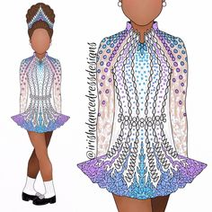 design 919 gold, white, and blue for 💙💙💙 Dance Dresses, Blue Dresses, Dress Sketches, Dance Leotards, Irish Dance, Dance Costumes, Designer Dresses, Lino Prints, Block Prints