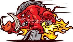 Razorback Charge Royalty Free Stock Vector Art Illustration