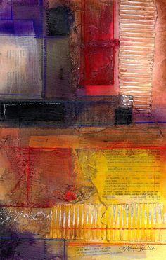 Abstracte schilderkunst in rood, oranje, geel - originele hedendaagse moderne getextureerde gemengde bloem mediakunst door Kathy Morton Stanion EBSQ
