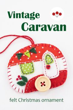 A vintage caravan trailer hanging ornament, handmade from felt and decorated with fabric scraps. With tiny felt bunting and buttons for the wheel and door knob.. A perfect Christmas ornament or gift for a trailer owner or anyone who loves camping.With blanket stitched edges and a cotton loop for hanging, the ornament is flat in shape, with a plain felt back.Size approx 3 x 2.5 inches / 7.5 x 6.5 cm. #feltchristmasornaments #feltornaments #vintagecamper #vintagetrailer #vintagecaravan Felt Christmas Ornaments, Hanging Ornaments, Felt Bunting, Scandi Christmas, Vintage Caravans, Blanket Stitch, Door Knob, Handmade Felt, Fabric Scraps