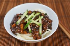 ultimate zha jiang mian - Chinese Grandma.  Easy and sounds delicious - meat and noodles!