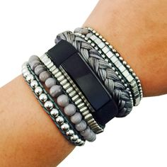 Fitbit Bracelet to Accessorize the Fitbit Alta - The ROSIE Grey and Silver Beaded, Braided Layered Snap Bracelet by Funktional Wearables.