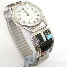 Men's Onyx Turquoise Coral Fire Opal Inlay Sterling Silver Watch Native American Indian Navajo Silversmiths Harry Spencer and Ella Cowboy