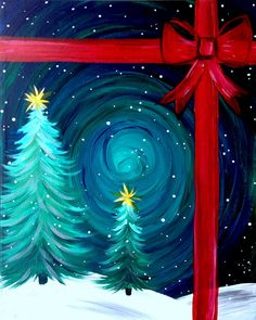 Winter-Dreamland Large Winter Art Projects, Paint Party, Christmas Door, Tapestry, Canvas, Painting Parties, Diy, Home Decor, Art Ideas