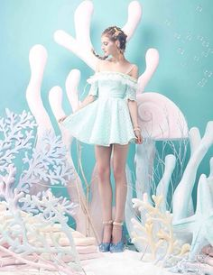 Love this under the sea pastel moment - how cute is the dress xoxoxoxoxoxoxoxoxoxoxoxox Style Pastel, Pastel Goth, Pastel Colors, Colours, Pastell Fashion, Foto Fantasy, Harajuku, Mode Kawaii, Foto Fashion