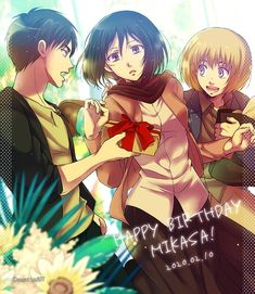 Haikyuu, Eren X Mikasa, Eremika, Manga, Attack On Titan, Happy Birthday, Fan Art, Japan, Anime