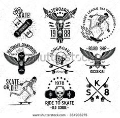 Set of skateboarding labels and badges. Skateboard Skeleton.