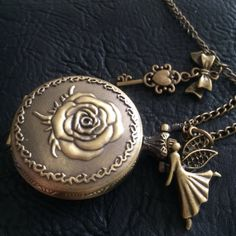 Rose pocket Watch necklace  Victorian  angel by Twilighthandcraft, $11.99