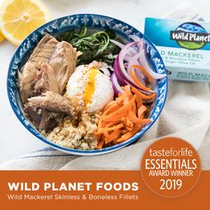 Wild Planet Foods Wild Mackerel Skinless & Boneless Fillets are the 2019 2019 TasteForLife Essentials Award Winner! Mackerel Fish, Mackerel Recipes, Tuna Steaks, Award Winner, Seafood, Essentials, Foods, Fresh, Ethnic Recipes
