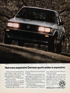 1983 VW Jetta German Sports Sedan-Not Expensive-Volkswagen-Original Magazine Ad Jetta Mk1, Volkswagen Golf Mk1, Sports Sedan, Car Advertising, Magazine Ads, Vw Beetles, Station Wagon, Dream Cars, Flyers