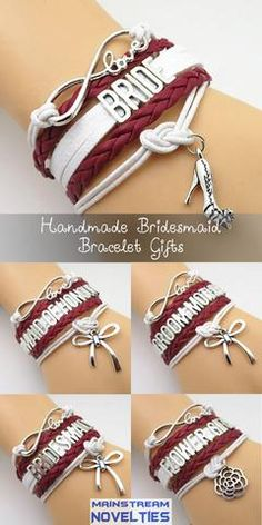 Infinity Love Burgundy Themed Wedding Bracelets Gift - 50% Off Sale - Bridesmaid Gifts