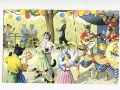 Mainzer dressed cats dancing at the by sharonfostervintage on Etsy, $6.50