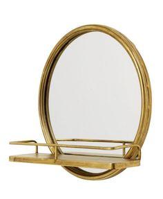 Nordal mirror with shelf metal gold - Ø42 cm  #metal #mirror #nordal #shelf