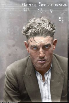 Some of the striking mugshots bear a resemblance to a fashion photo-shoot (pictured: Walter Smith, arrested in 1924 and 'charged with breaking and entering the dwelling-house of Edward Mulligan and stealing blinds &c value 20 pounds', and with 'stealing clothing, value 26 pounds in the dwelling house of Ernest Leslie Mortimer')