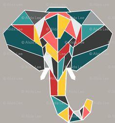 elephant head polygonal - Google Search
