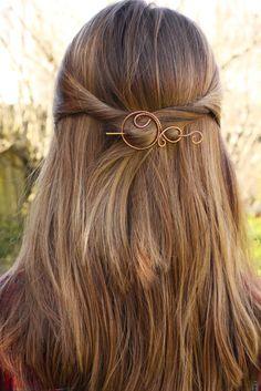 Hair barrette brooch hair clip copper hair slide hair by Kapelika, $18.50