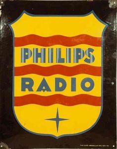 Enamel billboard, Philips Radio 1920-1930 | #vintage #retro #advert