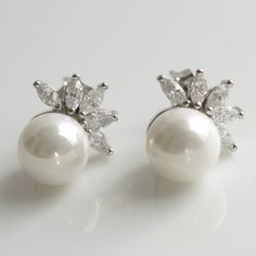 Pearl Jewelry Cubic Zirconia White Pearl Bridal by poetryjewelry, $32.00