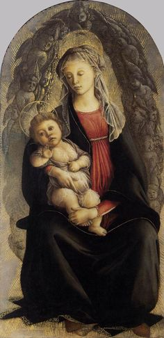 Sandro Botticelli (Alessandro di Mariano Filipepi), c.1445-1510, Italian, Madonna in Glory with Seraphim, 1469-1470.  Tempera on panel, 120 x 65 cm.  Galleria degli Uffizi, Florence.  Early Renaissance.