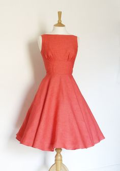 Watermelon Linen 1950s Tiffany Swing Dress - Made by Dig For Victory