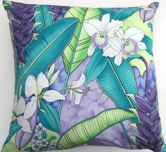 Teal and Purple Pillow Cover -- Turquoise and Lilac Tropical Orchids Flowers and Leaves -- 18 x 18 by sassypillows on Etsy https://www.etsy.com/listing/207712078/teal-and-purple-pillow-cover-turquoise