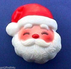 CHRISTMAS Pin SANTA CLAUS Jolly Face BROOCH Vtg Xmas Holiday Vintage Jewelry