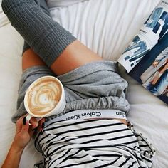 Find images and videos about coffee, morning and Calvin Klein on We Heart It - the app to get lost in what you love. Thigh High Socks, Thigh Highs, Ropa Interior Calvin, Mode Simple, My Calvins, Kendall Jenner Outfits, Insta Look, Lazy Days, Lazy Sunday