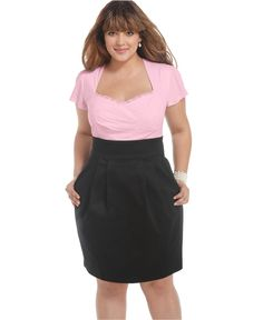 Trixxi Plus Size Dress, Short Sleeve Gathered Pleated - Plus Size Dresses - Plus Sizes - Macy's