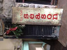 Christmas sayings on old wood. Vintage Christmas!