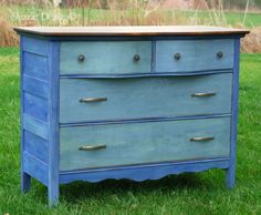 refinished the top, sealed it with wax then painted the dresser in CeCe Caldwell's Eco-Friendly, Natural Clay Paint blending Maine Harbor Blue with Alaskan Tundra Green.