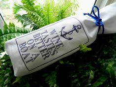 Wine Tastes Better on a Boat Nautical Merry Christmas Liquor Happy Hour Beer Vodka Martini Cocktails Bag Gift Cotton White Fabric Blue Tie